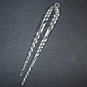 German Blown Crystal Double Twisted Icicle Christmas Ornament