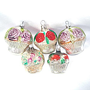 5 Vintage Silvered Glass Flower Basket Christmas Ornaments