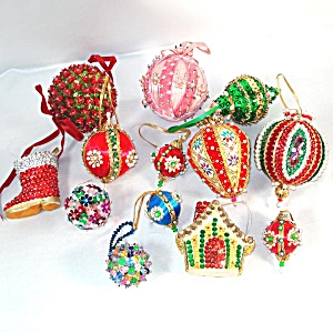 Lot 20 Pin Beaded Sequin Jeweled 1970s Christmas Ornaments