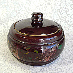 Antique Hand Painted Stoneware Covered Casserole