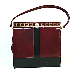 Naturalizer Burgundy And Black Patent Kelly Style Handbag Purse