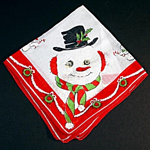 Christmas Snowman Hankie Googly Moving Eyes