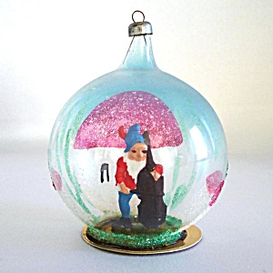 Italy Blown Glass Christmas Dome Ornament Gnome Figure Inside