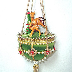 Beaded Jeweled Deer Scene Christmas Ornament From Craft Kit