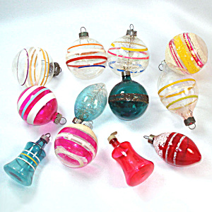 Dozen 1940s Unsilvered Glass Christmas War Ornaments
