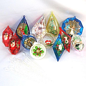 Jewel Brite, Bradford Plastic Scene Christmas Ornaments Plus Icicles