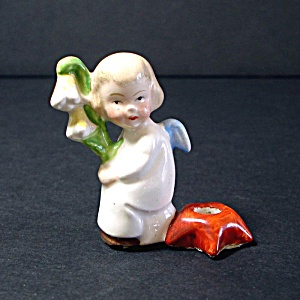 Tiny Ceramic Angel With Flower Candle Holder Figurine
