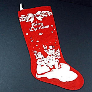 1940s Red Flannel Stencil Printed Christmas Stocking Plus Bonus
