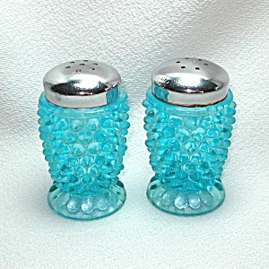 Fenton Hobnail Light Clear Blue Footed Salt Pepper Shakers