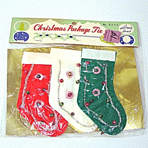 Shiny Brite Package Christmas Stocking Money Holder Package Ties