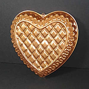 Quilted Heart Copper Colored Aluminum Cake Pan Mold