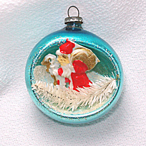 Santa Claus Glass Diorama Scene Indent Christmas Ornament