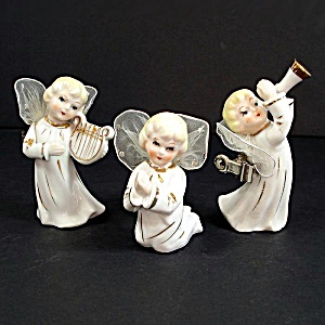 3 Porcelain Angels Wired Tulle Wings Clip On Christmas Ornaments