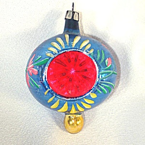 Blue Flower Red Indent Fancy Poland Finial Christmas Ornament