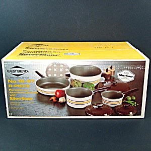 West Bend 8 Piece Silverstone Cookware Set Mint In Box