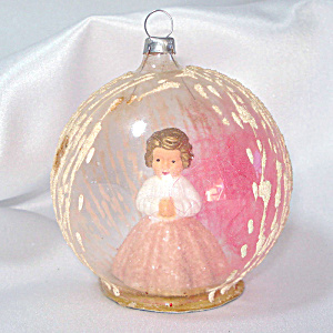 Pink Angel Dimensional Dome Scene Glass Christmas Ornament