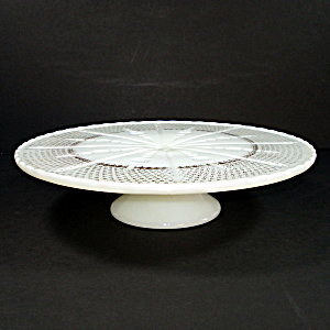 Anchor Hocking 1950s White Gold Trim Glass Cake Stand
