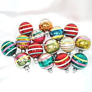 15 Small American Made Stripes Glass Christmas Ornaments