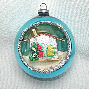 House Scene 1950s Diorama Indent Glass Christmas Ornament