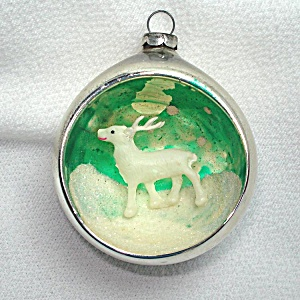 Reindeer Diorama Indent Scene Glass Christmas Ornament