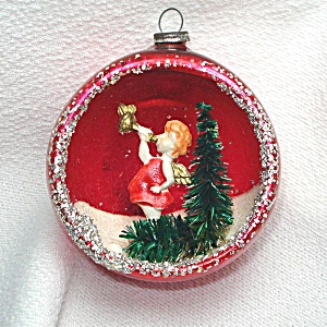 Angel Blowing Horn 1950s Diorama Indent Scene Christmas Ornament