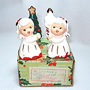 Angels Christmas Candle Ring Climbers In Box 1950s Japan