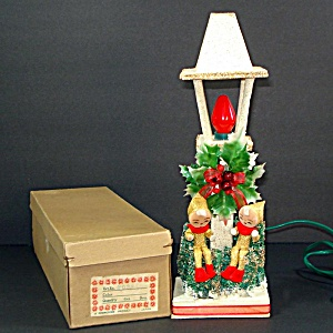 Commodore Japan Christmas Pixie Elf Lighted Lamp Post In Box