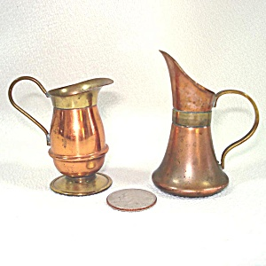 Pair Miniature Dollhouse Copper And Brass Pitchers