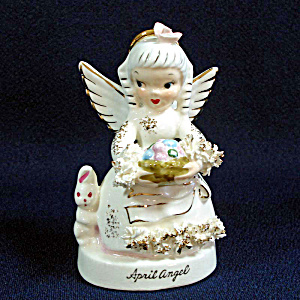 Napco April Birthday Angel Figurine With Bunny