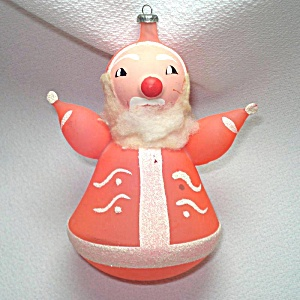 Italy Pink Blown Glass Santa Christmas Ornament Annealed Arms