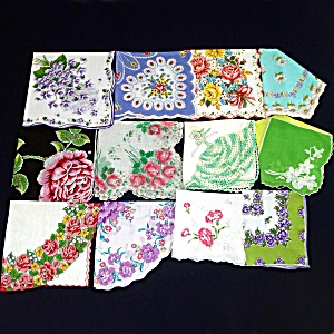 Lot 12 Vintage Ladies Hankies Mostly Florals