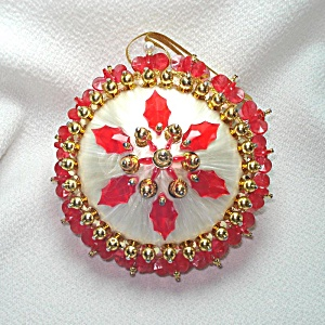 Beaded Sequined Gold Red Holly Christmas Ornament