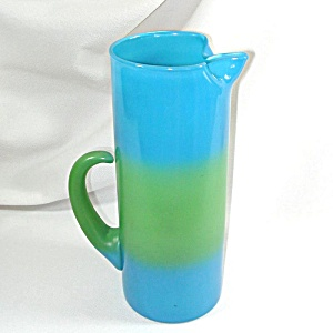 Blendo West Virginia Glass Blue Green Tall Martini Pitcher