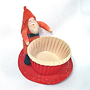 Christmas Nut Cup With Cotton Batting Clay Face Santa
