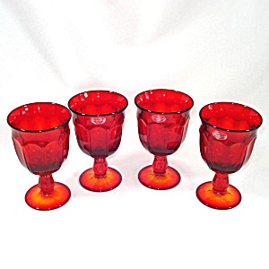 4 Noritake Provincial Ember Red Wine Goblets Mint With Labels