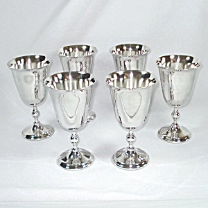 Set 6 Silverplated Wine Goblets Towle William Adams Italy