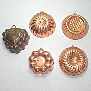 5 Small Copper Kitchen Jello Molds