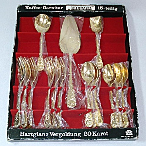 Baccara Rose Sweden 20k Gold Plated Flatware Set