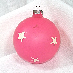 Pink With Stars Unsilvered Glass Christmas War Ornament