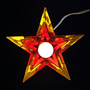 Gold Red Noma Glo Star Lucite Christmas Tree Topper