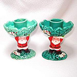 Pair Napco Santa Claus And Holly Christmas Candlesticks