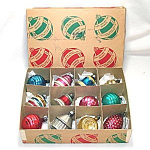 Box 1940s American Shapes Glass Christmas Ornaments