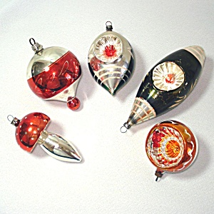 West Germany Earthtone Shapes Indents Christmas Ornaments