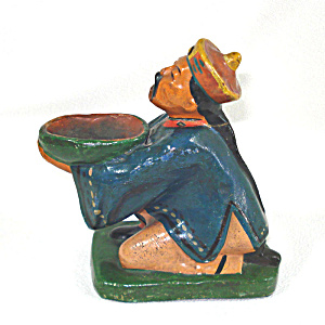 Antique Majolica China Man Figural Incense Burner Figurine