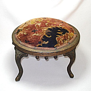 Antique Small Tapestry Victorian Footstool Cast Iron Legs