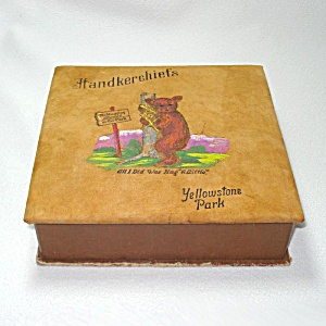 1930s Yellowstone Souvenir Painted Leather Hankie Box