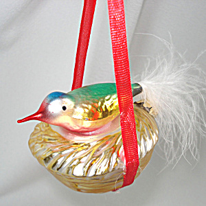 West Germany Bird On Nest Glass Christmas Ornament