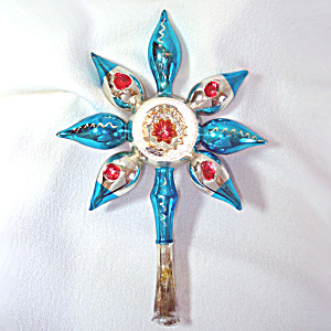 Germany Fantasy Spiked Indent Flower Blown Glass Tree Topper
