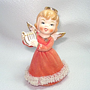 Japan Ceramic Angel With Lyre Figurine Christmas