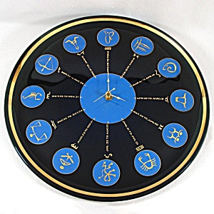 Glass Zodiac Astrological Signs Mid Century Wall Clock